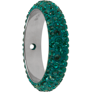 Swarovski Pave Ring 185001 - 14.5MM EMERALD (205) WITH 2 HOLES, (6pcs)