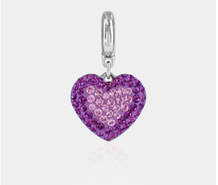 PAVE HEART CHARMS - ROSE & FUCHSIA