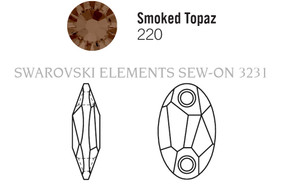 Swar Sew-on 3231 - 23x14mm, Smoked Topaz (220) Unfoiled, 1pc