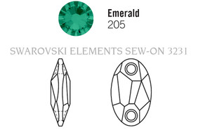 Swar Sew-on 3231 - 28x17mm, Emerald (205) Unfoiled, 1pc