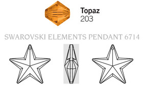 Swar Crystal Pendant 6714 - 20mm, Topaz (203), 1pc