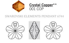 Swar Crystal Pendant 6744 - 12mm Crystal COPPER (001COP), 6pcs