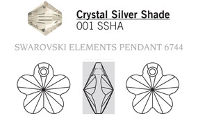 Swar Crystal Pendant 6744 - 14mm Crystal, Silver Shade (001SSHA), 4pcs
