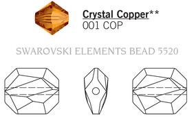 Swar Crystal Bead 5520 - 12mm, Crystal Copper (001 COP), 4pcs