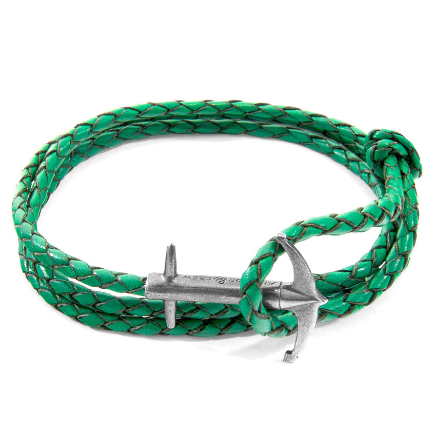 Anchor & Crew Fern Green Admiral Anchor Silver and Braided Leather Bracelet