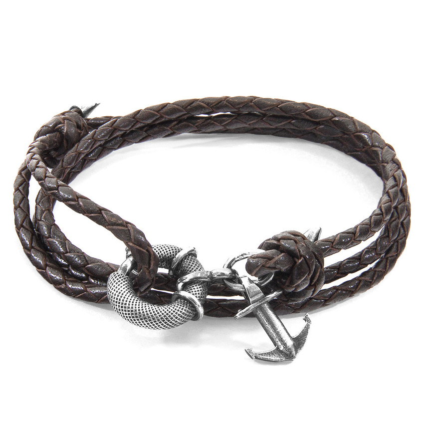 Anchor & Crew Dark Brown Clyde Anchor Silver and Braided Leather Bracelet