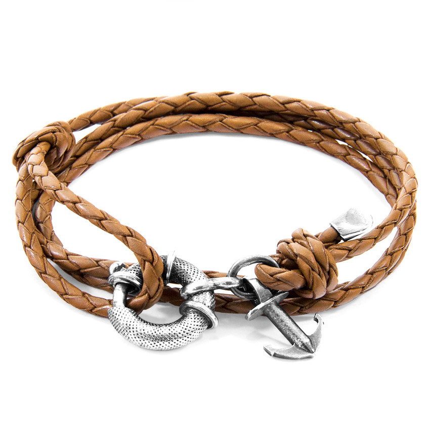 Anchor & Crew Light Brown Clyde Anchor Silver and Braided Leather Bracelet