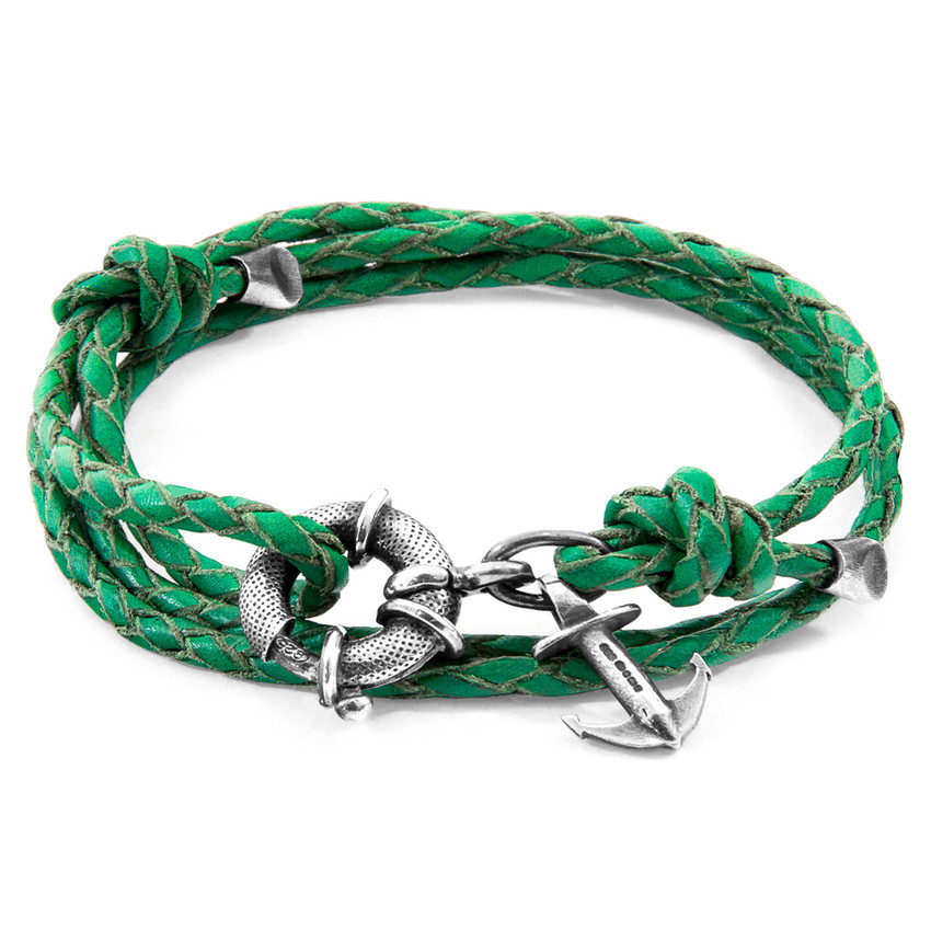 Anchor & Crew Fern Green Clyde Anchor Silver and Braided Leather Bracelet