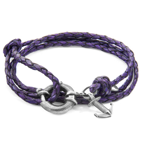 Anchor & Crew Grape Purple Clyde Anchor Silver and Braided Leather Bracelet