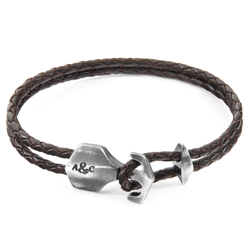 Anchor & Crew Dark Brown Delta Anchor Silver and Braided Leather Bracelet