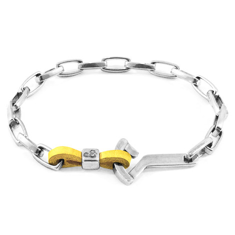 Anchor & Crew Mustard Yellow Frigate Silver and Flat Leather Bracelet