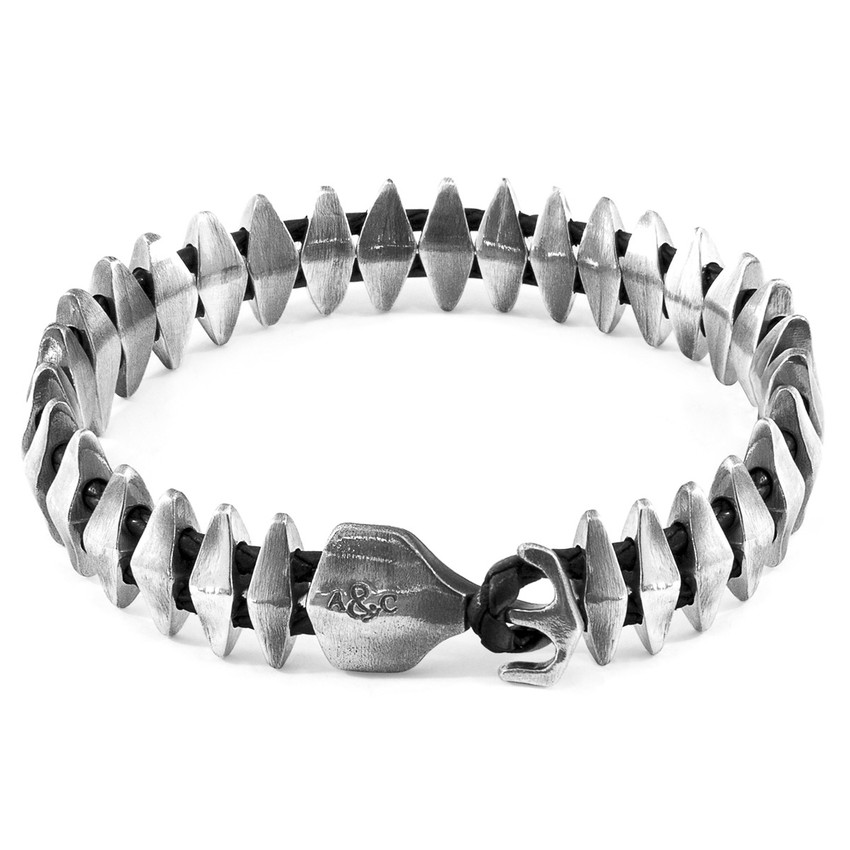 Anchor & Crew Coal Black Delta Maxi Silver and Braided Leather Bracelet
