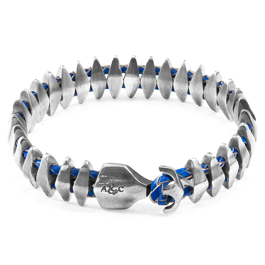 Anchor & Crew Royal Blue Delta Maxi Silver and Braided Leather Bracelet