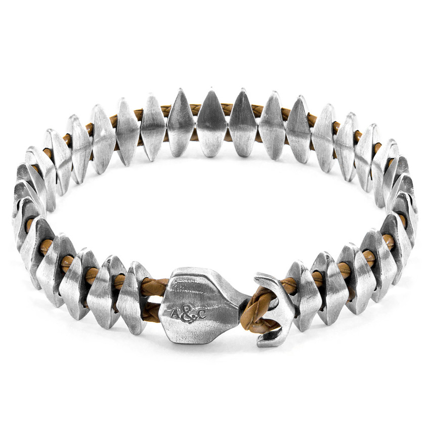 Anchor & Crew Light Brown Delta Maxi Silver and Braided Leather Bracelet