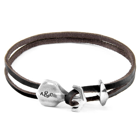 Anchor & Crew Dark Brown Delta Anchor Silver and Flat Leather Bracelet