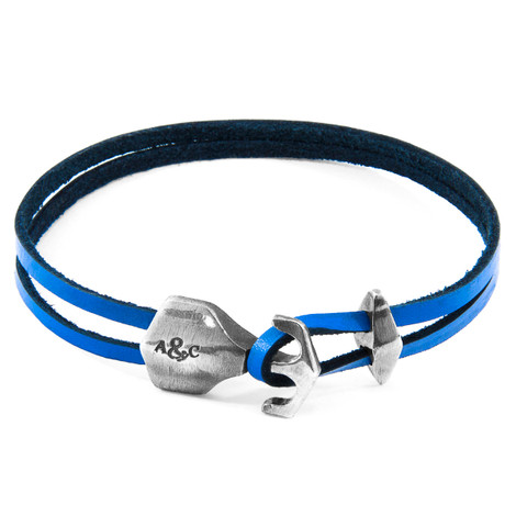 Anchor & Crew Royal Blue Delta Anchor Silver and Flat Leather Bracelet