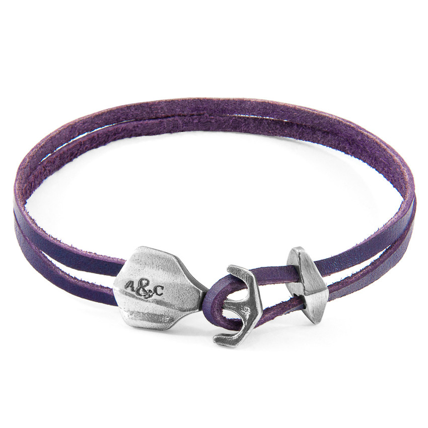 Anchor & Crew Grape Purple Delta Anchor Silver and Flat Leather Bracelet