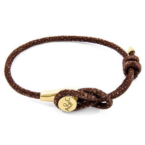 Anchor & Crew Mocha Brown Dundee 9ct Yellow Gold and Stingray Leather Bracelet