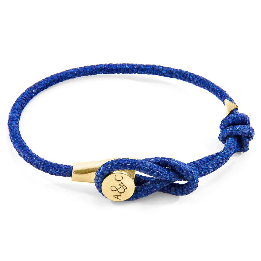 Anchor & Crew Azure Blue Dundee 9ct Yellow Gold and Stingray Leather Bracelet