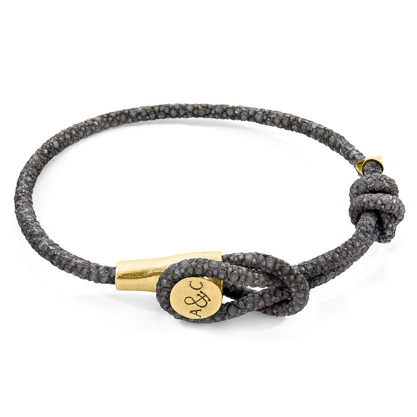 Anchor & Crew Shadow Grey Dundee 9ct Yellow Gold and Stingray Leather Bracelet