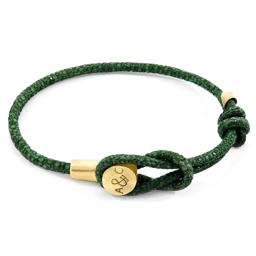 Anchor & Crew Racing Green Dundee 9ct Yellow Gold and Stingray Leather Bracelet