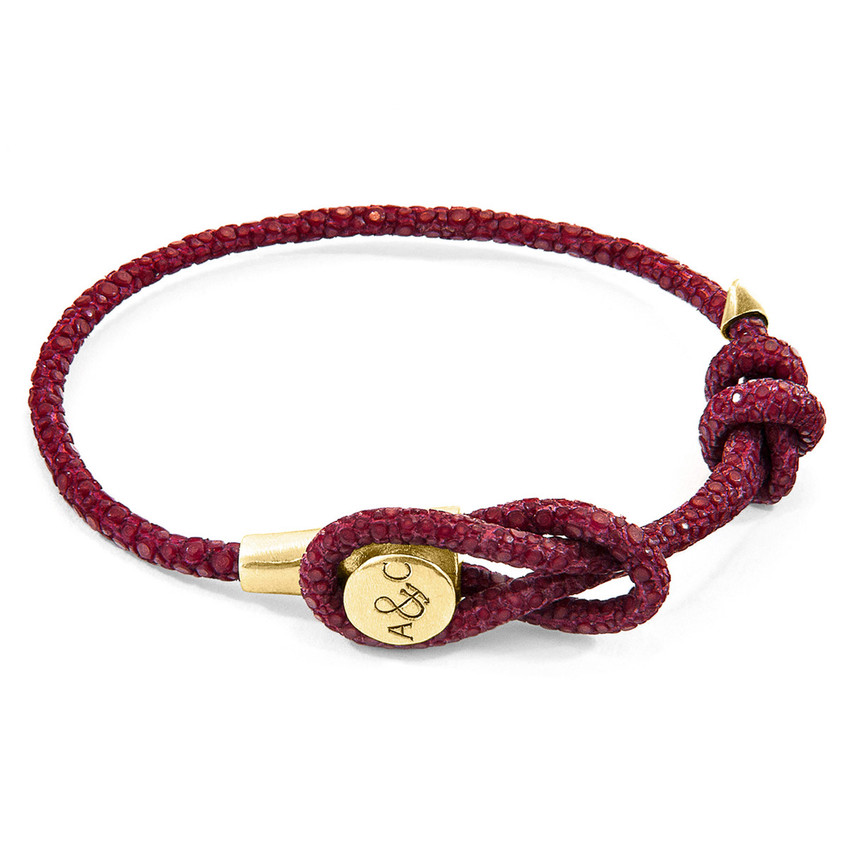 Anchor & Crew Bordeaux Red Dundee 9ct Yellow Gold and Stingray Leather Bracelet