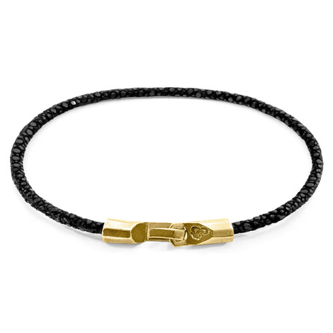 Anchor & Crew Raven Black Talbot 9ct Yellow Gold and Stingray Leather Bracelet