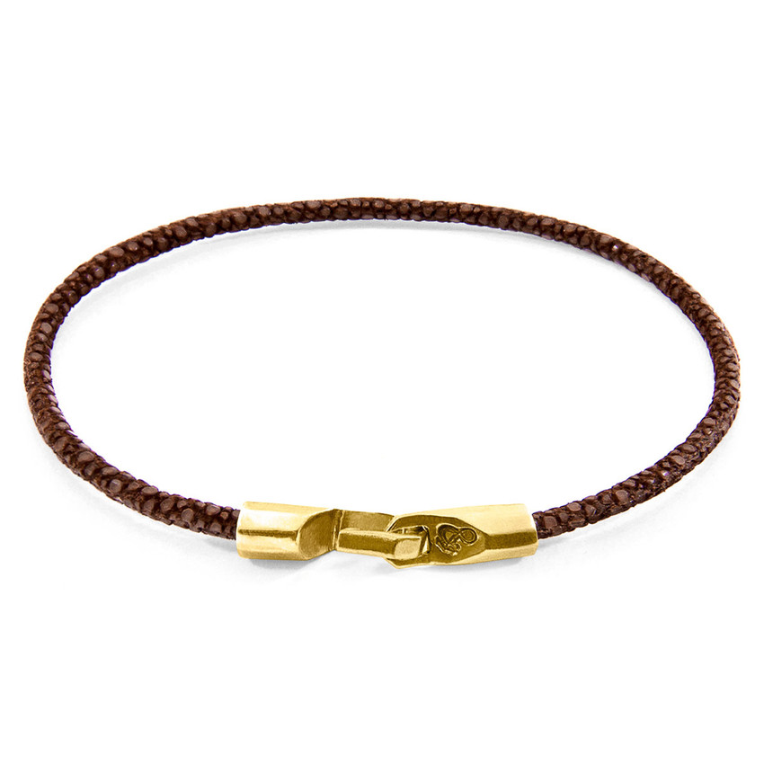Anchor & Crew Mocha Brown Talbot 9ct Yellow Gold and Stingray Leather Bracelet