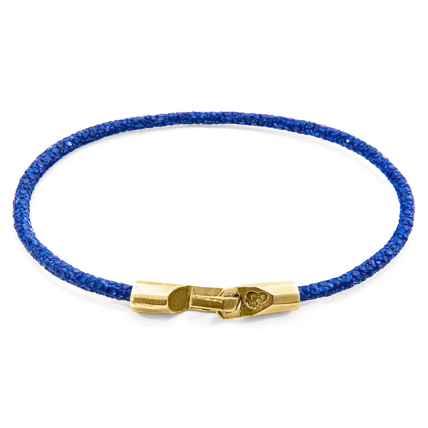Anchor & Crew Azure Blue Talbot 9ct Yellow Gold and Stingray Leather Bracelet