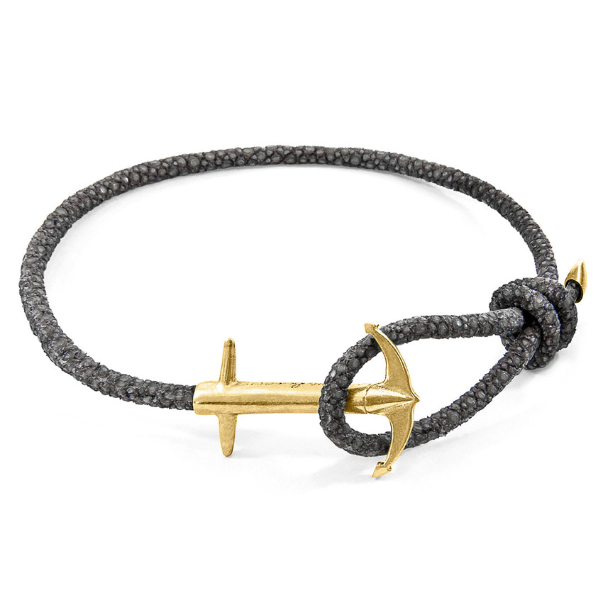 Anchor & Crew Azure Blue Admiral Anchor 9ct Yellow Gold and Stingray Leather Bracelet