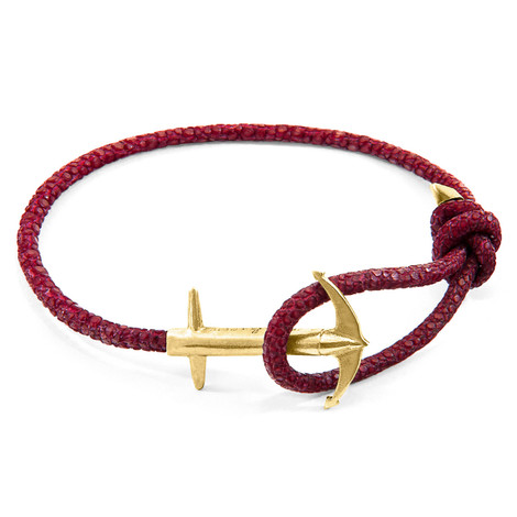 Anchor & Crew Bordeaux Red Admiral Anchor 9ct Yellow Gold and Stingray Leather Bracelet