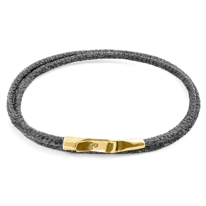 Anchor & Crew Shadow Grey Liverpool 9ct Yellow Gold and Stingray Leather Bracelet