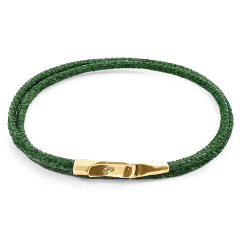 Anchor & Crew Racing Green Liverpool 9ct Yellow Gold and Stingray Leather Bracelet