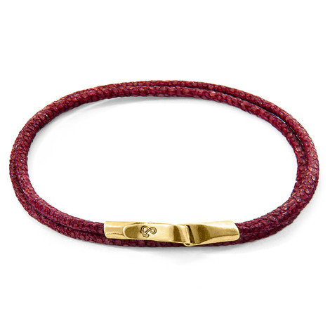 Anchor & Crew Bordeaux Red Liverpool 9ct Yellow Gold and Stingray Leather Bracelet