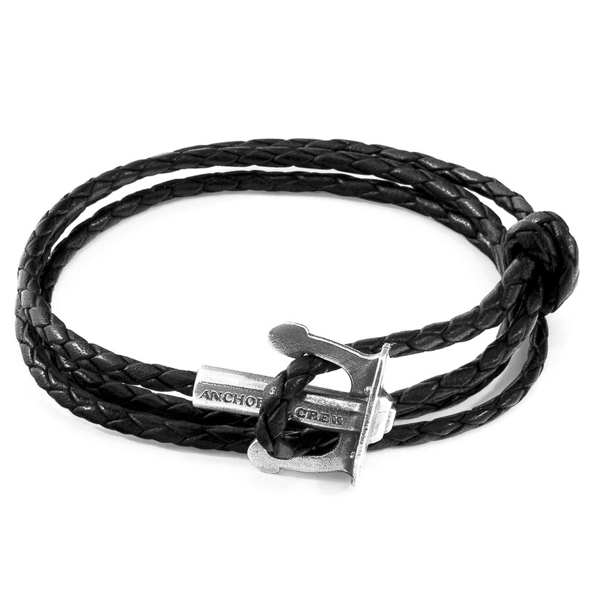 Anchor & Crew Coal Black Union Anchor Silver and Braided Leather Bracelet