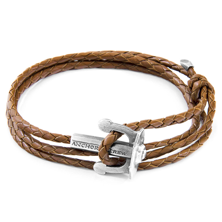 Anchor & Crew Light Brown Union Anchor Silver and Braided Leather Bracelet