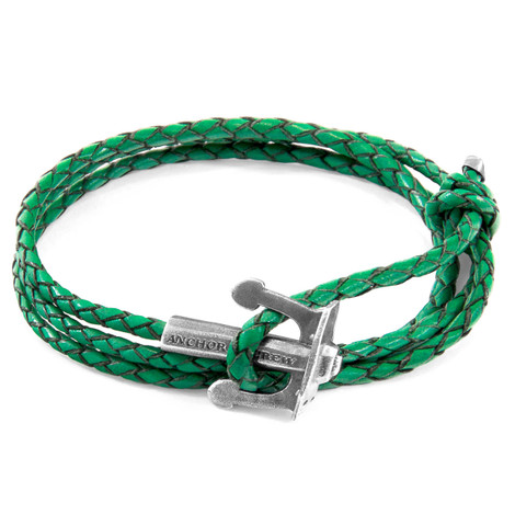 Anchor & Crew Fern Green Union Anchor Silver and Braided Leather Bracelet