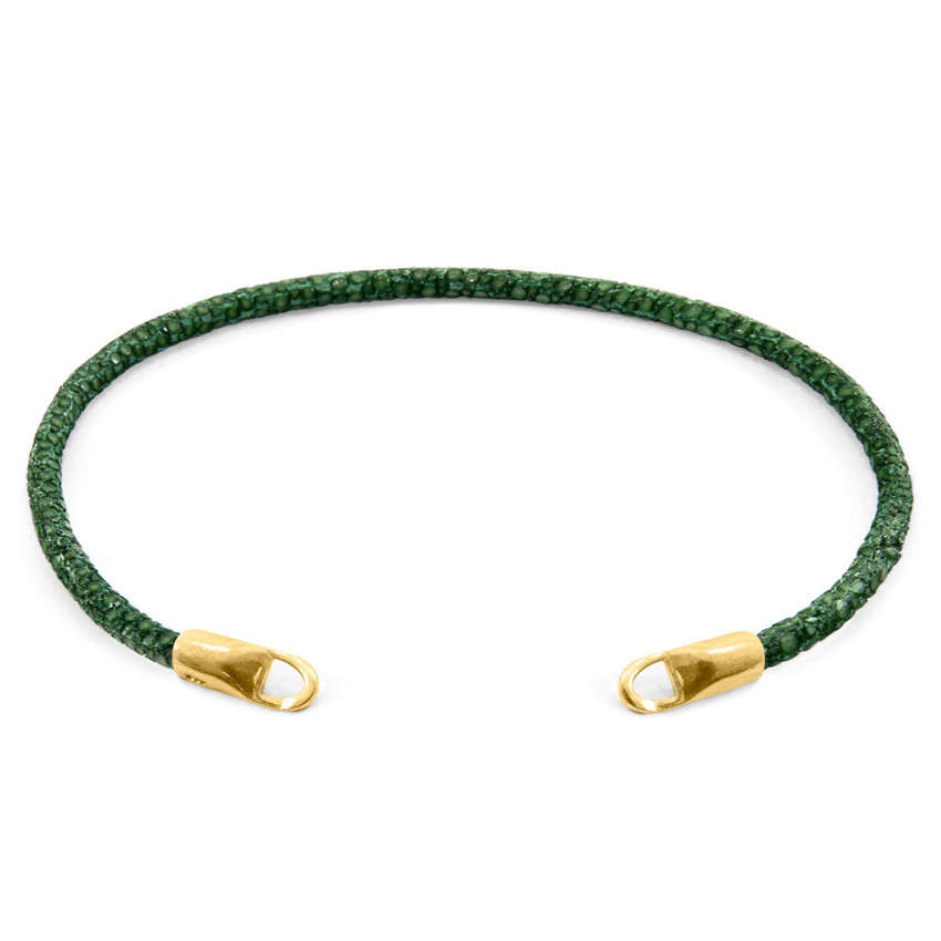 Anchor & Crew Racing Green CUSTOM Bracelet Stingray Leather and 9ct Yellow Gold Line