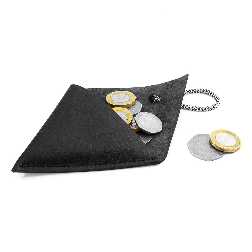 Anchor & Crew Graphite Black Dunster Leather and Rope Coin Purse As Being Used
