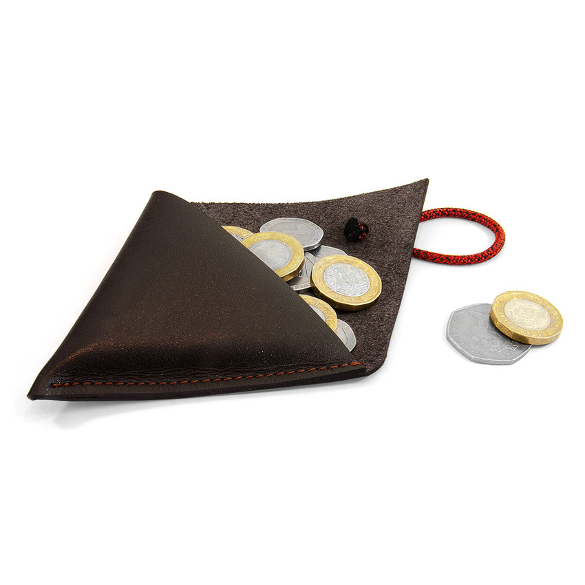 Anchor & Crew Deep Brown Dunster Leather and Rope Coin Purse As Being Used