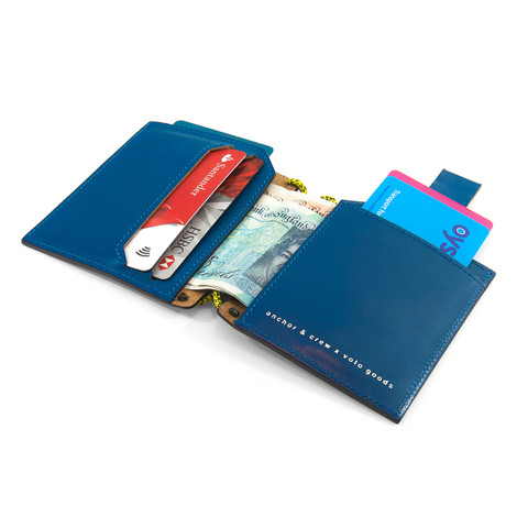 Anchor & Crew Traffic Blue Felrigg Leather and Rope Wallet As Being Used
