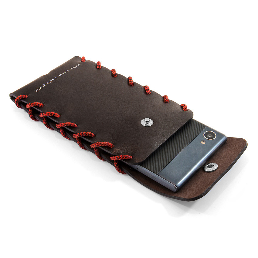 Anchor & Crew Small Deep Brown Standen Leather and Rope Phone Case As Being Used