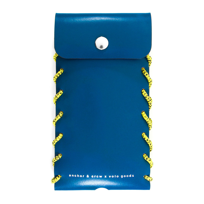 Anchor & Crew Large Traffic Blue Standen Leather and Rope Phone Case