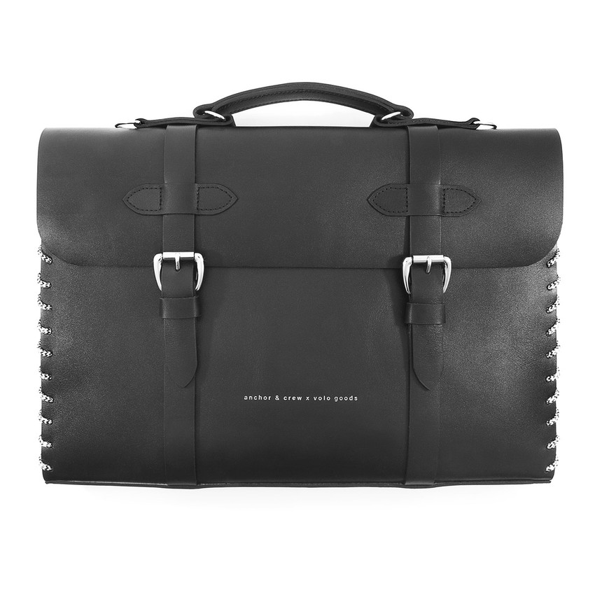 Anchor & Crew Small Graphite Black Rufford Leather and Rope Briefcase