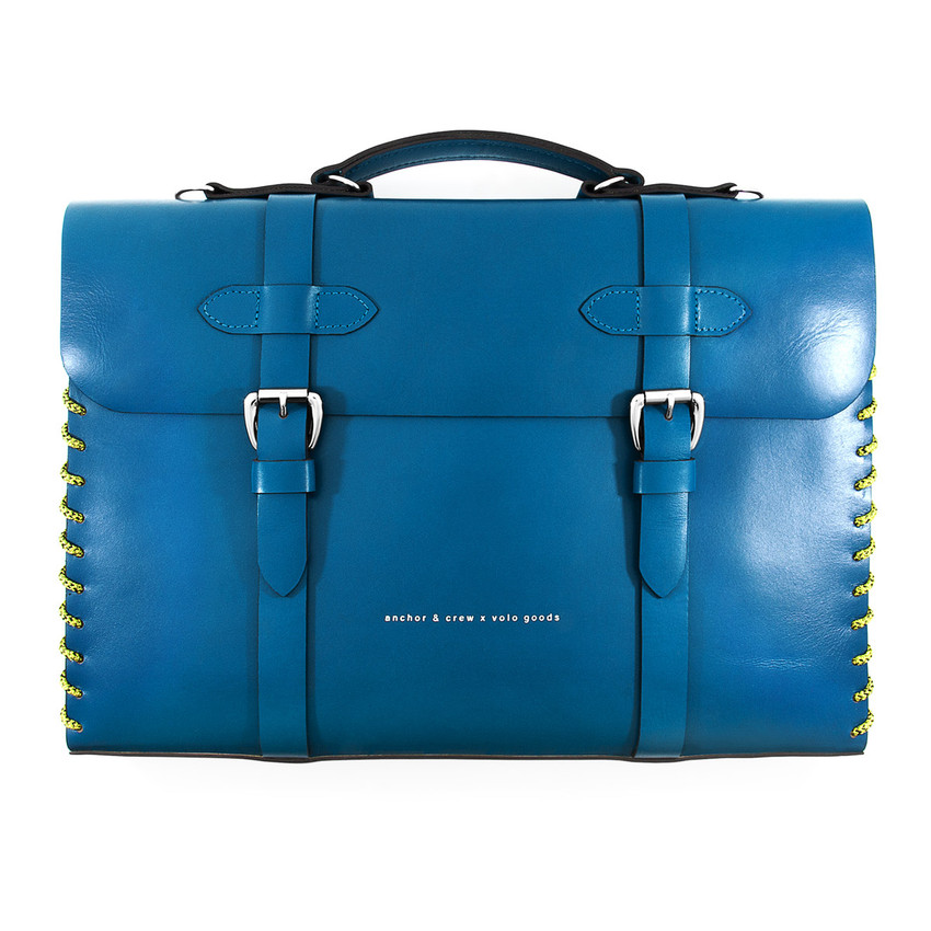 Anchor & Crew Small Traffic Blue Rufford Leather and Rope Briefcase