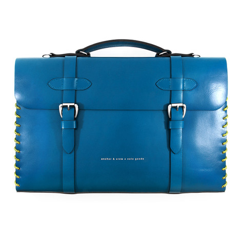 Anchor & Crew Large Traffic Blue Rufford Leather and Rope Briefcase