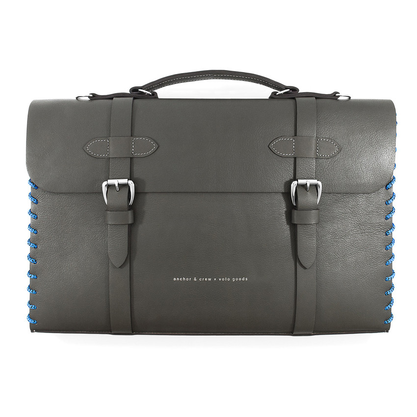 Anchor & Crew Large Falcon Grey Rufford Leather and Rope Briefcase