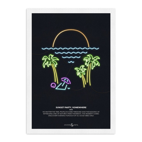 Anchor & Crew Sunset Party Archival Giclée Paper A3 Wall Print