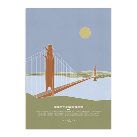 Anchor & Crew The Golden Surf Bridge Archival Giclée Paper A3 Wall Print
