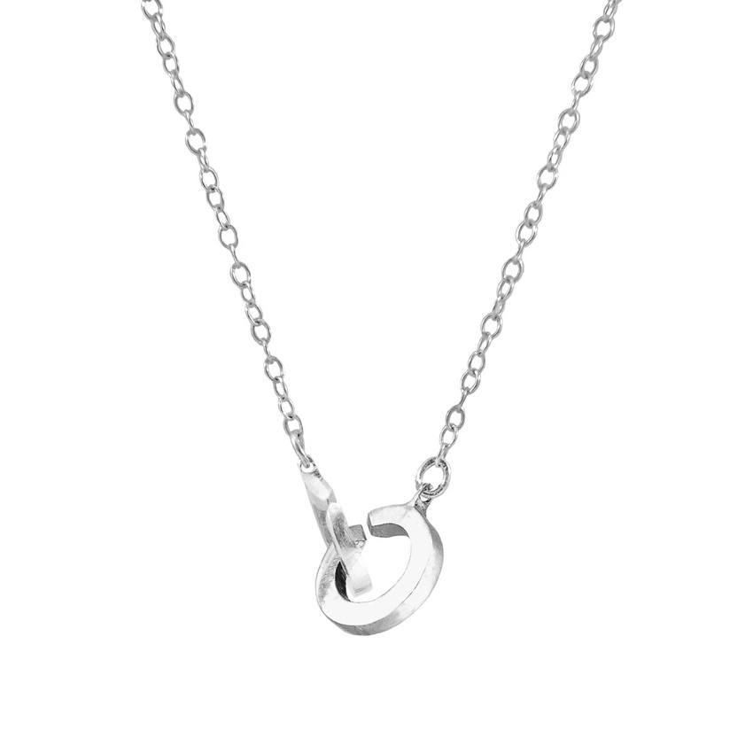 Anchor & Crew Twin Circle Link Paradise Silver Necklace Pendant